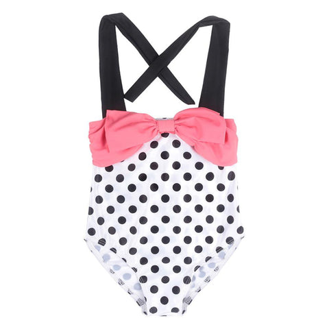 Bowknot Polka Dots Swimsuit