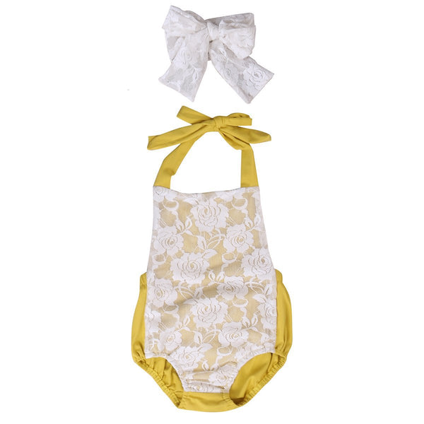 Mustard Lace Sunsuit Set