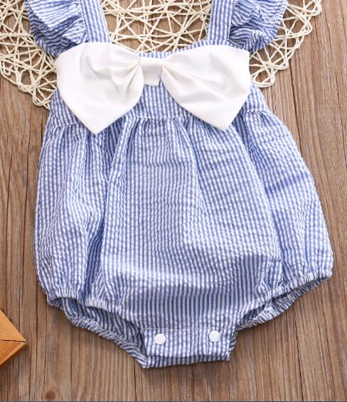 close up Bowknot Stripes Romper Blue