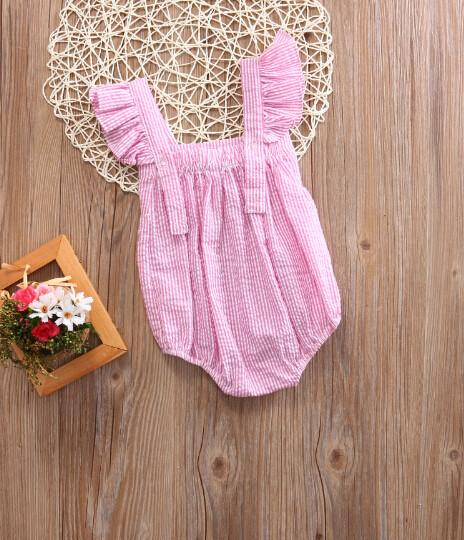 Bowknot Stripes Romper Pink back view