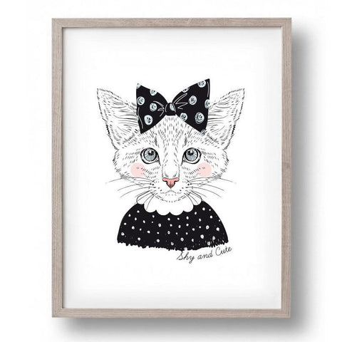 Shy Cat Wall Print
