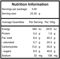 Cookies + Cream nutritional panel