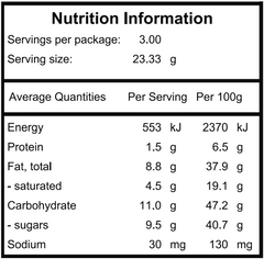Peanut Crunch nutritional panel