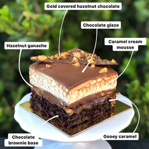 Chocolate, hazelnut and caramel gateaux - SHARE SIZE