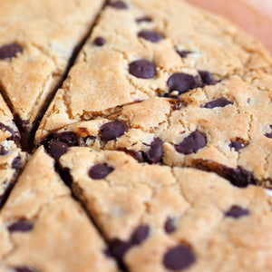 Close up vegan cookie pizza chocolate chip chewy giant cookie