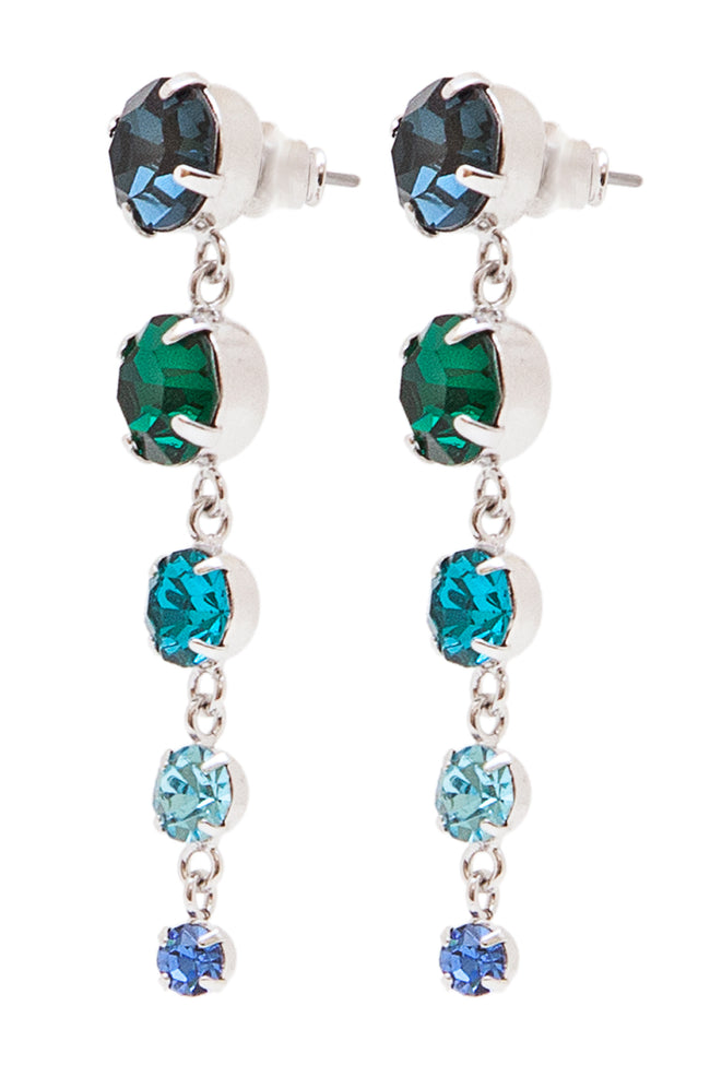 Sleeping Beauty Earrings in Rhodium/Multi - Arium Collection