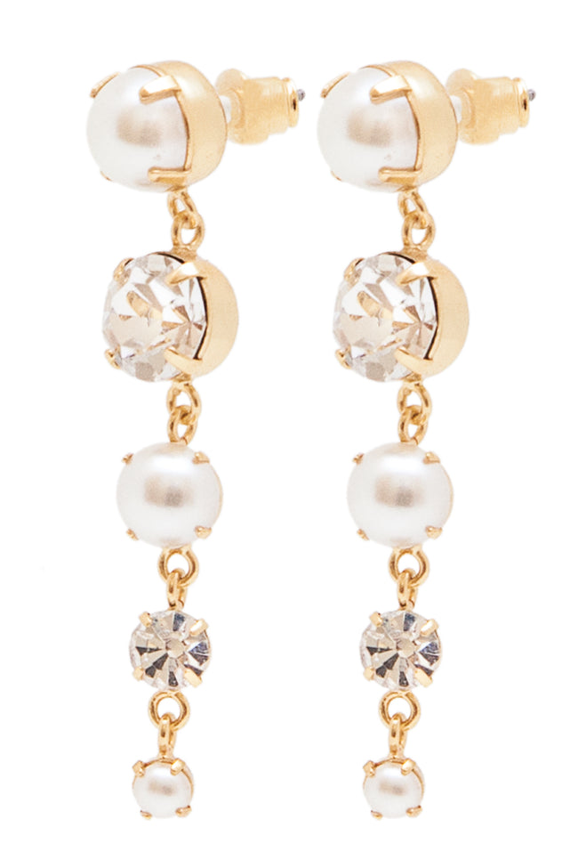 Sleeping Beauty Earrings in Gold/Pearl