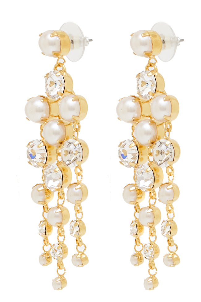 Sleeping Beauty Chandelier Earrings in Gold/Pearl