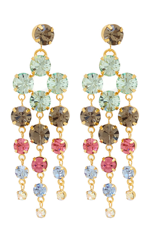 Sleeping Beauty Chandelier Earrings in Gold/Multi - Arium Collection