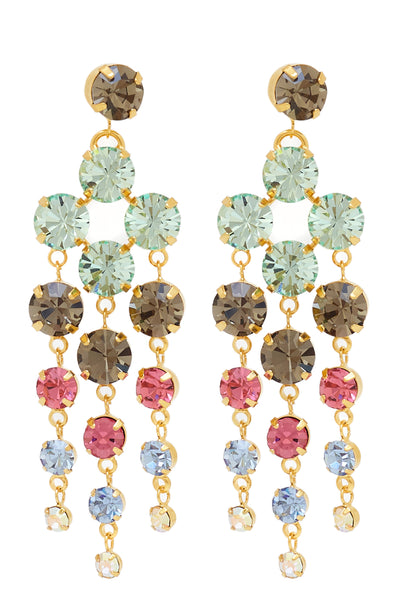 Sleeping Beauty Chandelier Earrings in Gold/Multi