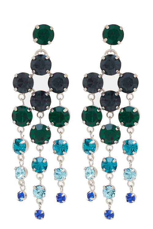 Sleeping Beauty Chandelier Earrings in Rhodium/Multi