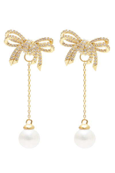 Ribbon Pearl Drop Earrings - Arium Collection