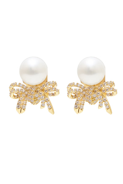 Ribbon Stud Earrings with Pearl - Arium Collection