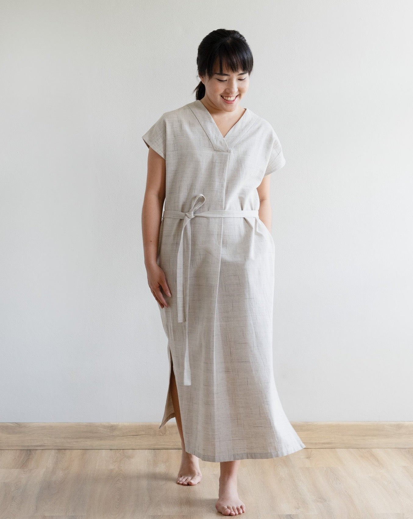 PAGISENJA - Pleated V-Neck Dress