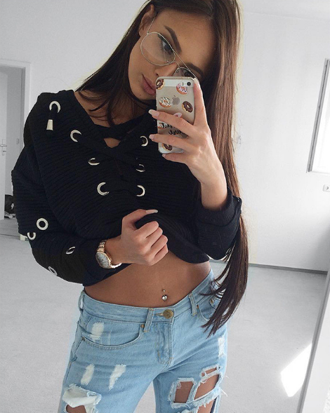 Deep Lace Up Sweater