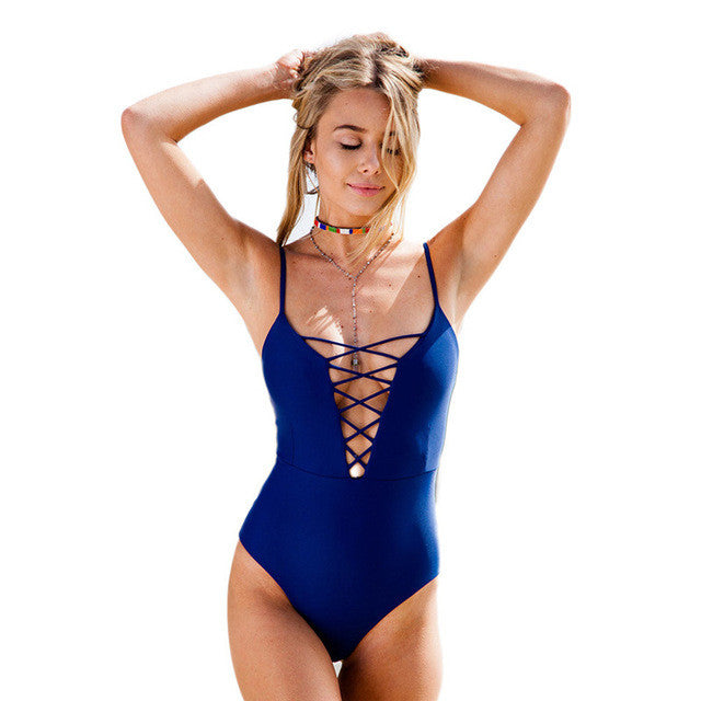 Middle Lace Up One Piece (3 Colors)