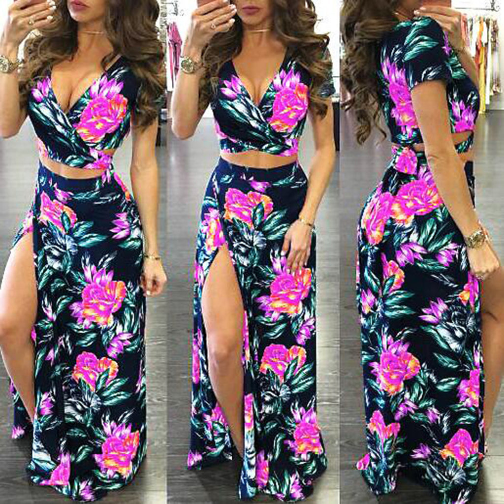 Two Piece High Slit Dress (2 Color-Ways)