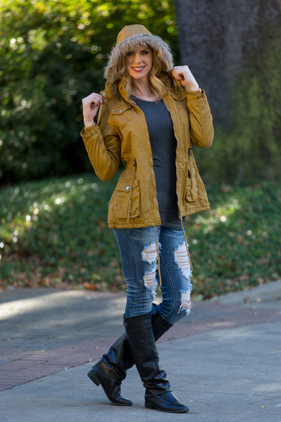 Faux Fur Lined Hooded Mustard Parka | Sadie Coleman