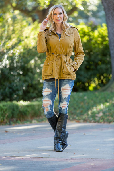 Faux Fur Lined Hooded Mustard Parka - Sadie Coleman