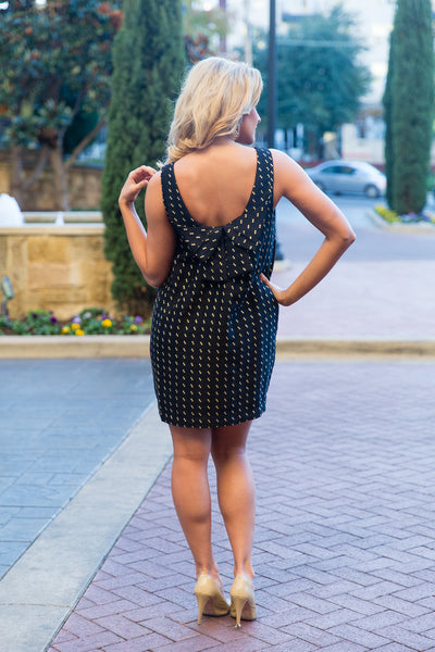 Gold Dotted Black Dress with Bow in Back | Sadie Coleman