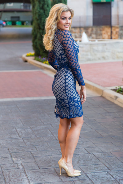 Navy Long Sleeve Lace Dress | Sadie Coleman