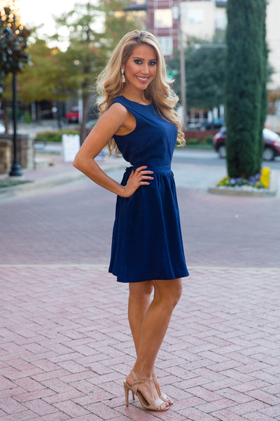 Navy A-Line Dress with Cinched Waist | Sadie Coleman