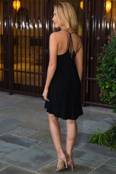 Black Strappy Racerback Slip Dress | Sadie Coleman