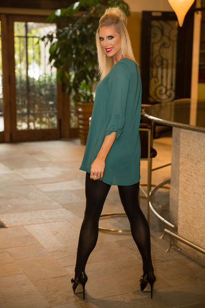 Hunter Green 3/4 Sleeve Dress | Sadie Coleman