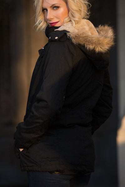 Faux Fur Lined Hooded Black Parka | Sadie Coleman
