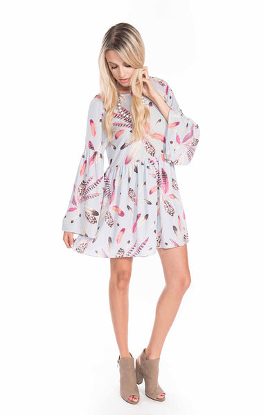 Long Sleeve Feather Print Dress - Sadie Coleman