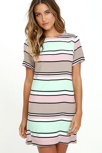 Light Pink, Mint and Taupe Short Sleeve Dress - Sadie Coleman