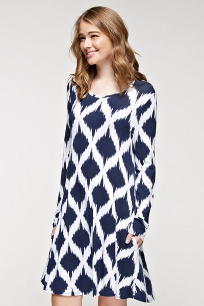 Long Sleeve Navy Print Dress with Pockets | Sadie Coleman