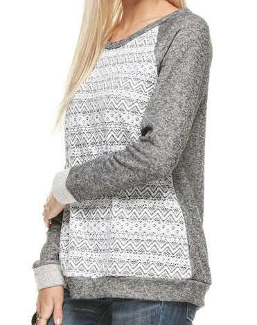Charcoal Gray Cotton Lace Long Sleeve Top - Sadie Coleman
