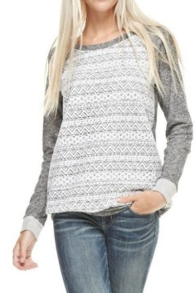Charcoal Gray Cotton Lace Long Sleeve Top | Sadie Coleman