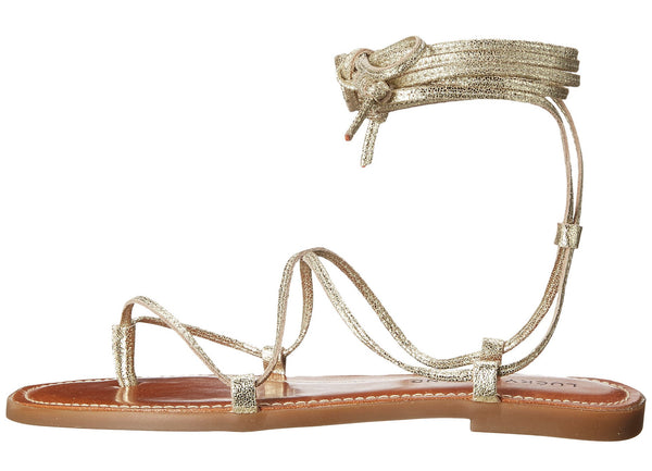 Light Gold Binnie Ankle Tie Sandal - Sadie Coleman