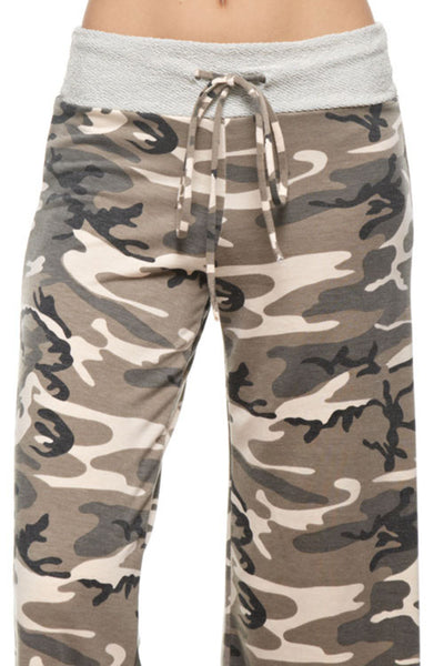 Camouflage French Terry Wide Pants | Sadie Coleman
