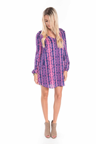 Long Sleeve Pink & Purple Rattlesnake Dress - Sadie Coleman