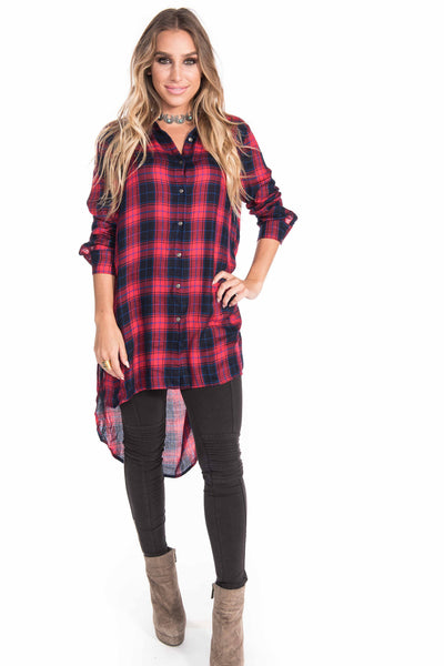 Red Plaid High Low Tunic | Sadie Coleman
