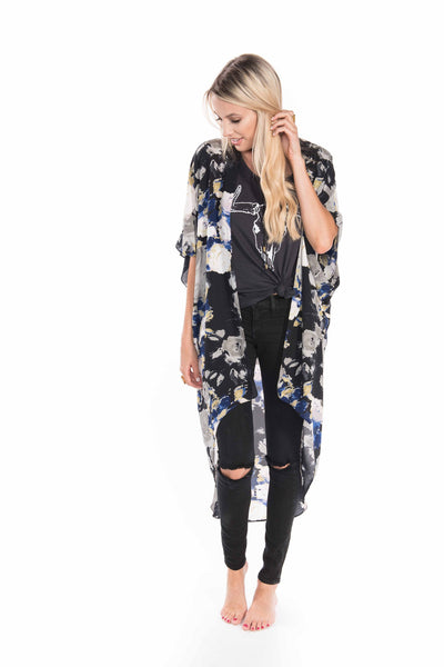 Licorice Blue Floral Wrap - Sadie Coleman