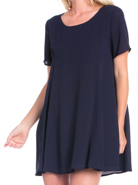 Blue Swing Dress with Keyhole Back - Sadie Coleman