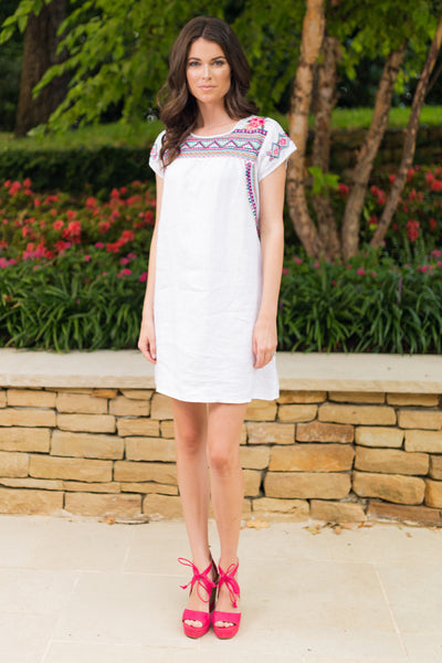 JWLA Embroidered Linen Tunic Dress | Sadie Coleman