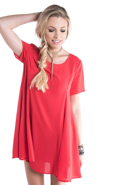 Red Swing Dress with Keyhole Back | Sadie Coleman