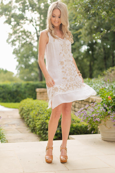 100% White Linen Tunic Dress with Tan Embroidery | Sadie Coleman