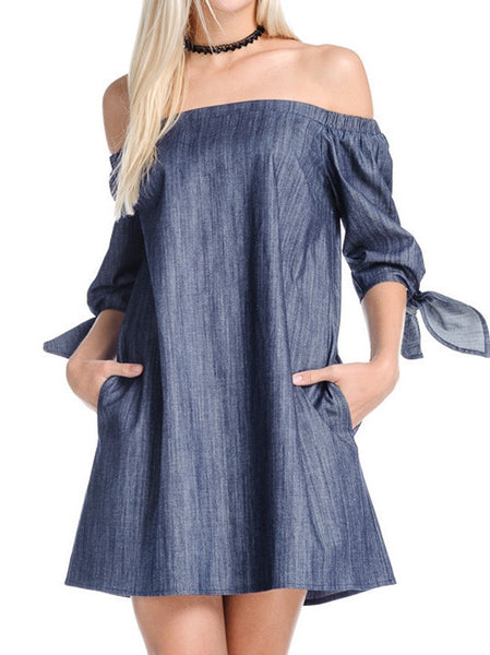 Denim Off the Shoulder Dress with Pockets | Sadie Coleman