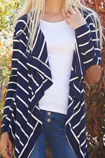 Striped Navy Cardigan with Suede Elbow Patches | Sadie Coleman