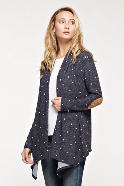 Navy Polka Dot Cardigan with Suede Elbow Patches | Sadie Coleman