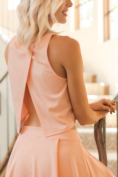 Peach Two-Piece Textured Skirt Set - Sadie Coleman