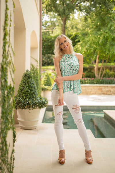 High-Low Mint Lattice Patterned Halter Top - Sadie Coleman