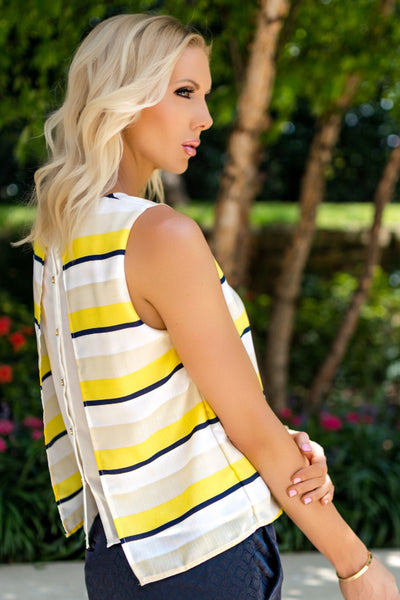 Navy and Yellow Horizontal Striped Top with Back Button Detail - Sadie Coleman