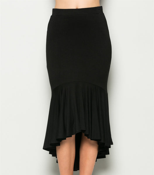 Black High Low Stretchy Ruffle Skirt | Sadie Coleman
